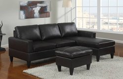 New Black Mini Leatherette Sectional + Ottoman DELIVERY4FREE in Oceanside, California
