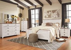 ** BRAND NEW ** ASHLEY RUSTIC WHITE WASH QUEEN BED SET ** in Nashville, Tennessee