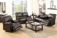 New Espresso Leatherettte Sofa with Console Recliner FREE DELIVERY in Oceanside, California