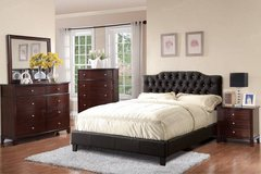 New Black Full Size Tufted Leatherette Bed Frame FREE DELIVERY in Oceanside, California