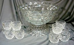 Large Fostoria American Punch Bowl w/ Pedestal + 12 Cups in Naperville, Illinois