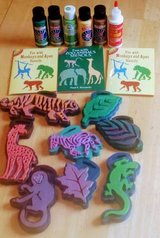 17 pcs Hobby Lobby Animal & Leaf Chunky Stamps, Paint ,Stencils in Fort Carson, Colorado