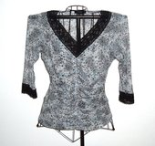 Karen Kane Sheer Fitted Gray Leopard Lace Trim Blouse Womens XL in Morris, Illinois