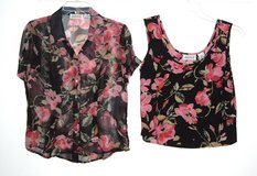 Apparenza 2 Piece Chiffon Black Floral Tank Top Blouse Set Womens Small in Morris, Illinois