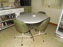 Vintage Formica Table & Barrel Chairs in Chicago, Illinois