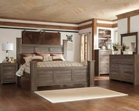 ** BRAND NEW ** ASHLEY QUEEN RUSTIC POST BED SET W/ P-TOP MATTRESS ** in Nashville, Tennessee
