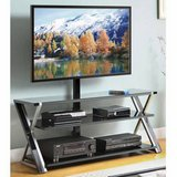 Whalen 3-In-1 Black TV Stand (Black/Chrome) - NEW! in Bolingbrook, Illinois