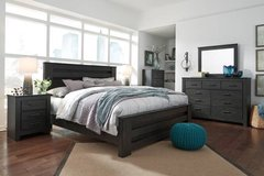 ** BRAND NEW ** ASHLEY RUSTIC BLACK QUEEN BEDROOM SET ** NO CREDIT in Nashville, Tennessee