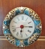 Clock - Small Metal & Enamel Blue / Silver Crystals - AAA Battery in Naperville, Illinois