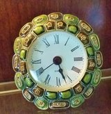 Clock - Small Metal & Enamel Greens / Gold Crystals - AAA Battery in Naperville, Illinois