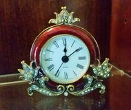 Clock - Small  Metal and Enamel Burgundy / Gold Crystals - AAA Battery in Plainfield, Illinois