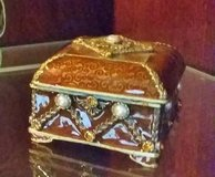 Trinket Box - Metal / Enamel -Square Brown & Gold w/ Pearls & Crystals in Chicago, Illinois