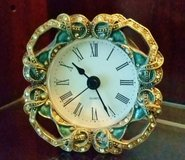 Clock - Small Metal & Enamel Green & Gold with Crystals - AAA Battery in Chicago, Illinois