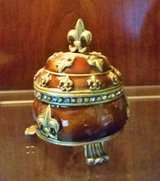 Trinket Box - Metal and Enamel  - Round Brown and Gold in Bolingbrook, Illinois