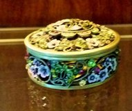 Trinket Box - Metal / Enamel -Round Green, Lavender& Gold w/  Crystals in Naperville, Illinois
