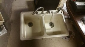 2 Bay Deep Well Porcelain Kitchen Sink with accessories in DeKalb, Illinois