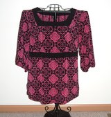 Lane Bryant 3/4 Sleeve Hot Pink & Black Boat Neck Blouse Plus 14/16 14 16 1X in Morris, Illinois