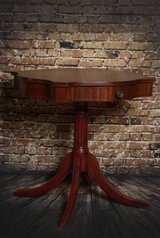 Refinished mahogany drum table in Glendale Heights, Illinois