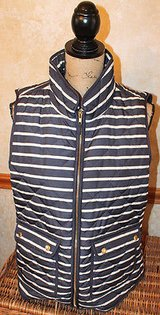 Stylish Navy Ivory Stripe Front Quilted Vest, Gold Zipper, British Khaki, XL in Glendale Heights, Illinois