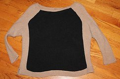 FREE PEOPLE Black, Tan Cotton Nylon LS Fitted Lightweight Sweater, Small ~ EUC in Glendale Heights, Illinois