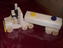 "Handmade Toy Wooden Truck with Trailer!  6"" long by 3"" in Houston, Texas"