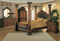 Bed, queen/king size, head  & foot board with 4 columns. Tiffany style in Camp Lejeune, North Carolina