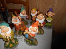 Disney Snow White Dwarf Garden Gnomes-  set of all 7 playing musical instruments! in Kingwood, Texas