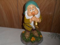 "New 9"" Disney Snow White  Dwarf Garden Gnome- SLEEPY (playing flute) in Bellaire, Texas"
