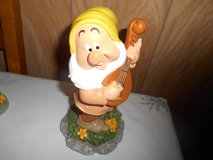 "New 9"" Disney Snow White  Dwarf Garden Gnome- SNEEZY (playing guitar) in Bellaire, Texas"