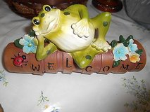 New Yard Decor- Frog Laying on Flower Pots!  So Cute!     Pots spell out word:  WELCOME in Bellaire, Texas