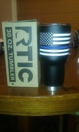 Black Rtic 30oz tumbler w/ Flag and Blue Police Line in Perry, Georgia