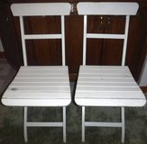 (2) White Folding Chairs - Wood Slat Seat & Back - Metal Frames in Chicago, Illinois