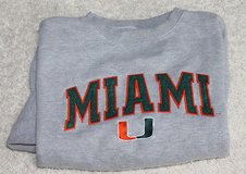 Miami Hurricanes Gray Crewneck Sweatshirt, Cotton/Polyester, Lg in Glendale Heights, Illinois