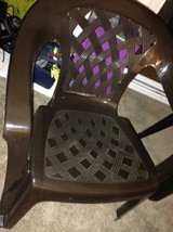 2 Hard Plastic weaved style lawn chairs pallet in Travis AFB, California