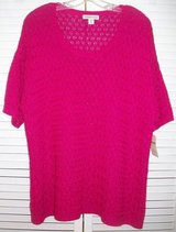 New! Sz 1X / 18 Coldwater Creek Pink Lattice Stitch Sweater in Joliet, Illinois
