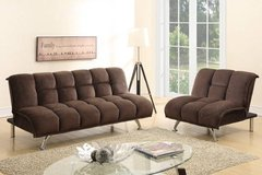 Chocolate Brown Sofa Futon Bed + Chair Sectional Option FREE DELIVERY in Oceanside, California