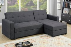 New Blue Gray Leatherette Sofa Futon Bed + Storage ✿  FREE DELIVERY in Oceanside, California