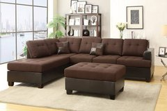 New Chocolate Linen Sectional ++Ottoman **LINEN* FREE DELIVERY in Oceanside, California