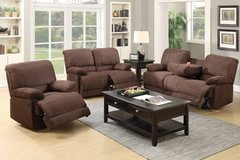 New Chocolate Microfiber Sofa Recliner with Console FREE DELIVERY in Oceanside, California