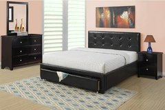 New Black Tufted Storage QUEEN or FULL Bed Frame DELIVERY in Oceanside, California