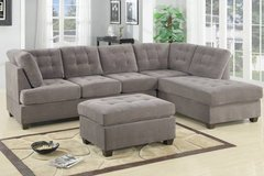 Charcoal Gray Brown Waffle Suede Sectional Sofa FREE DELIVERY in Oceanside, California