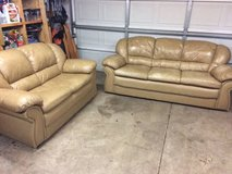 Tan leather couch and love seat in Joliet, Illinois