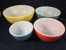 VINTAGE PYREX Set of 4 Primary Colors Nesting Mixing Bowls NO NUMBERS in Batavia, Illinois