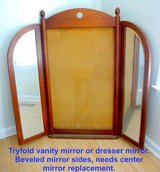 Try fold mirror beveled glass,  wood cabinet mirror, maple, oak, tik. in Camp Lejeune, North Carolina