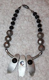 Large Beaded Fashion Jewelry Necklace with 3 Drop Pendants, Silver and Black in Joliet, Illinois