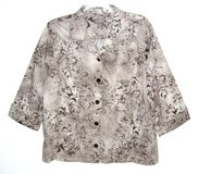 Chicos 3/4 Sleeve Floral Button Front Jacket Womens 3 = XL 16 Brown Beige Tan in Morris, Illinois