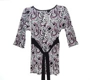 Nick & Sarah 3/4 Sleeve Empire Tie Back Waist Spiral Womens Blouse Small 4 6 in Morris, Illinois