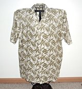 Syllables Olive Green White Patterned Button Down Shirt Mens Large 100% Ramie in Morris, Illinois