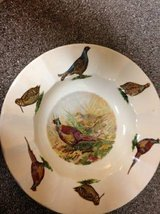 Staffordshire Ironstone Scalloped Bowl Pheasant with her Chick in Roseville, California