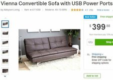 Vienna Convertible Sofa w/ USB Ports in Minneapolis, Minnesota